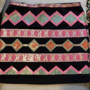 Multi colored super fun sequin navy blue skirt